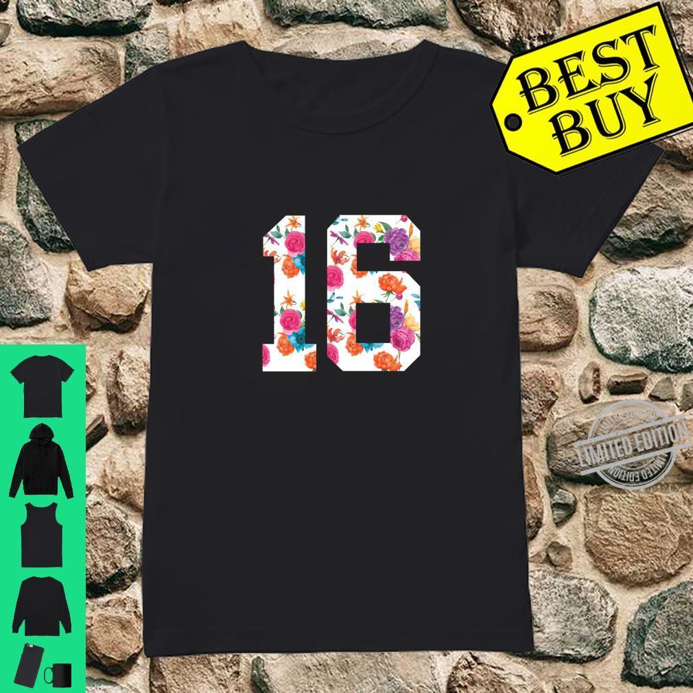 Footballs Floral Fan Jersey Number 16 Shirt ladies tee