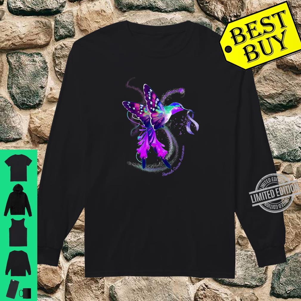 Hummingbird Periwinkle Ribbon Stomach Cancer Awareness Shirt long sleeved