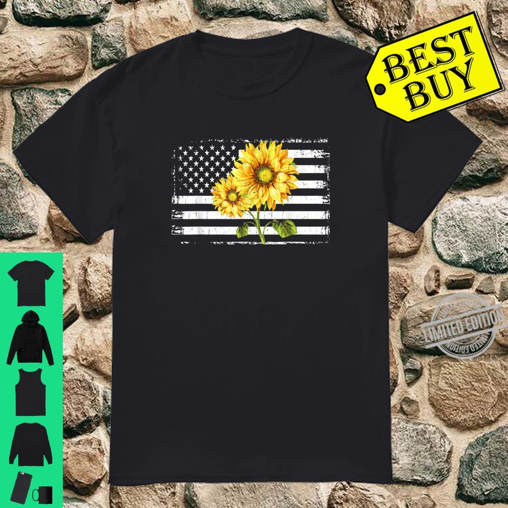 Sunflower American Flag Patriotic 4th Of July Shirt