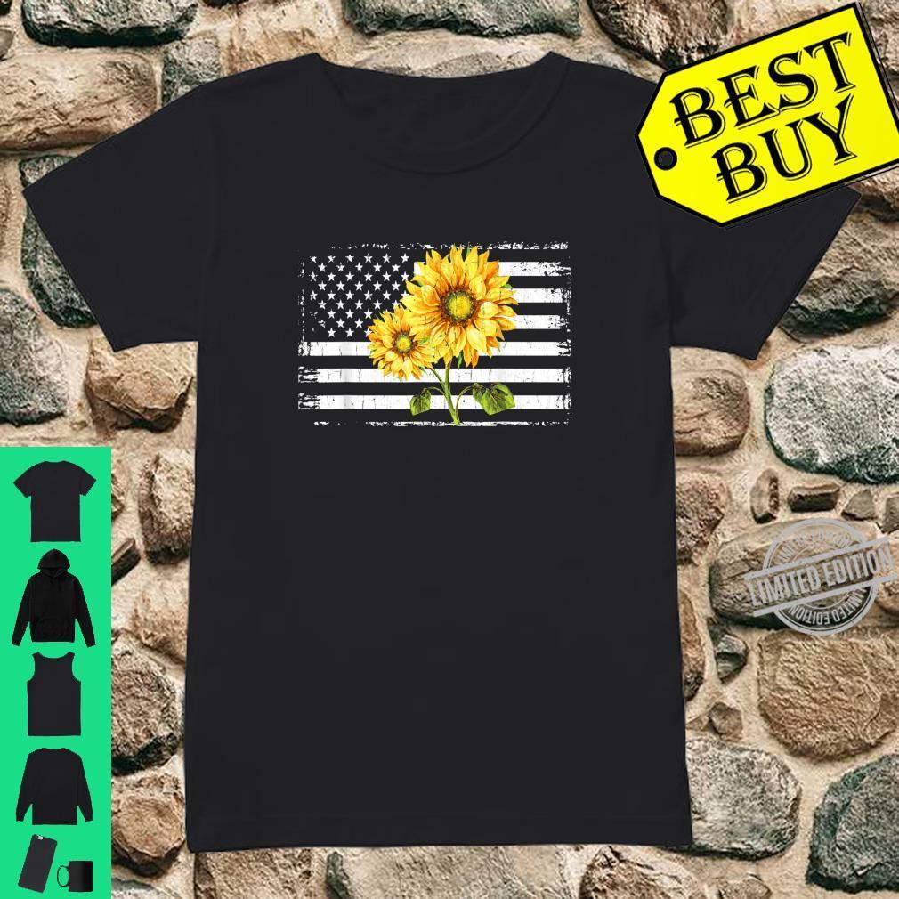 Sunflower American Flag Patriotic 4th Of July Shirt ladies tee