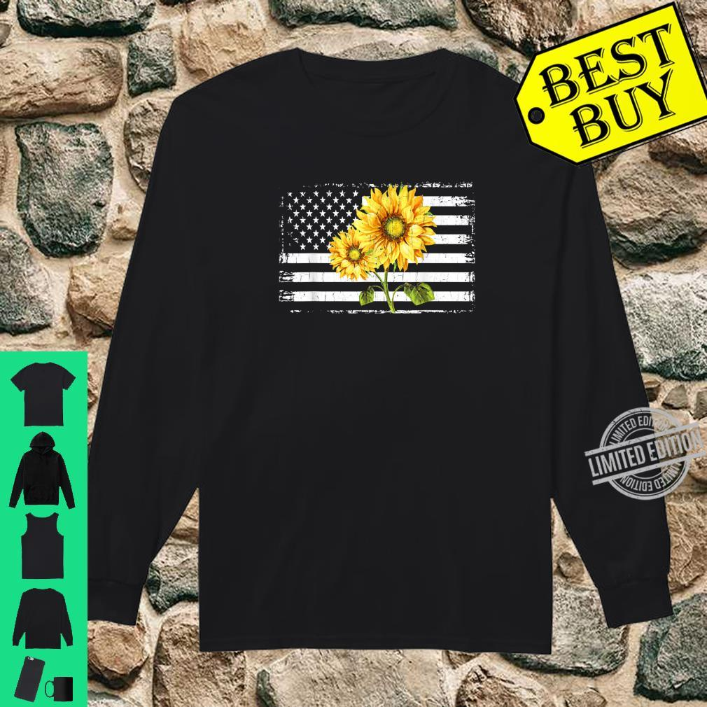 Sunflower American Flag Patriotic 4th Of July Shirt long sleeved